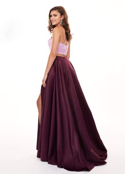 Rachel Allan - 6422 Two Piece Matte Satin A-line Dress In Purple and Pink