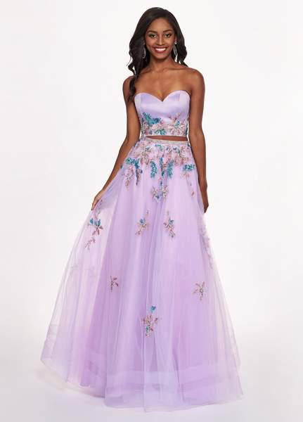Rachel Allan - 6428 Strapless Beaded Embroidered Two-Piece Prom Gown In Purple