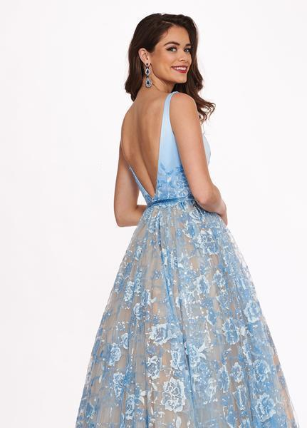 Rachel Allan - 6431 Sleeveless V Neck Floral Lace A-Line Prom Gown In Blue