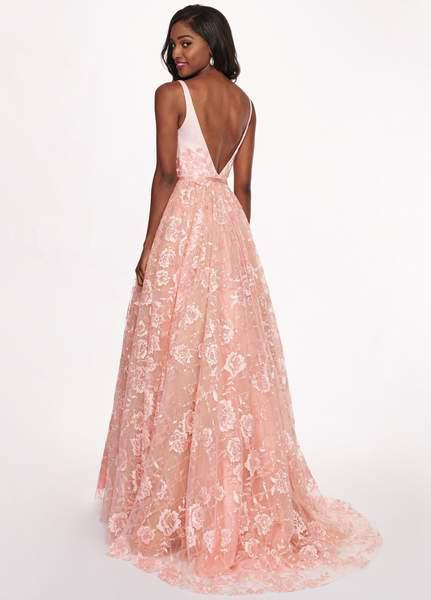 Rachel Allan - 6431 Sleeveless V Neck Floral Lace A-Line Prom Gown In Pink and Orange
