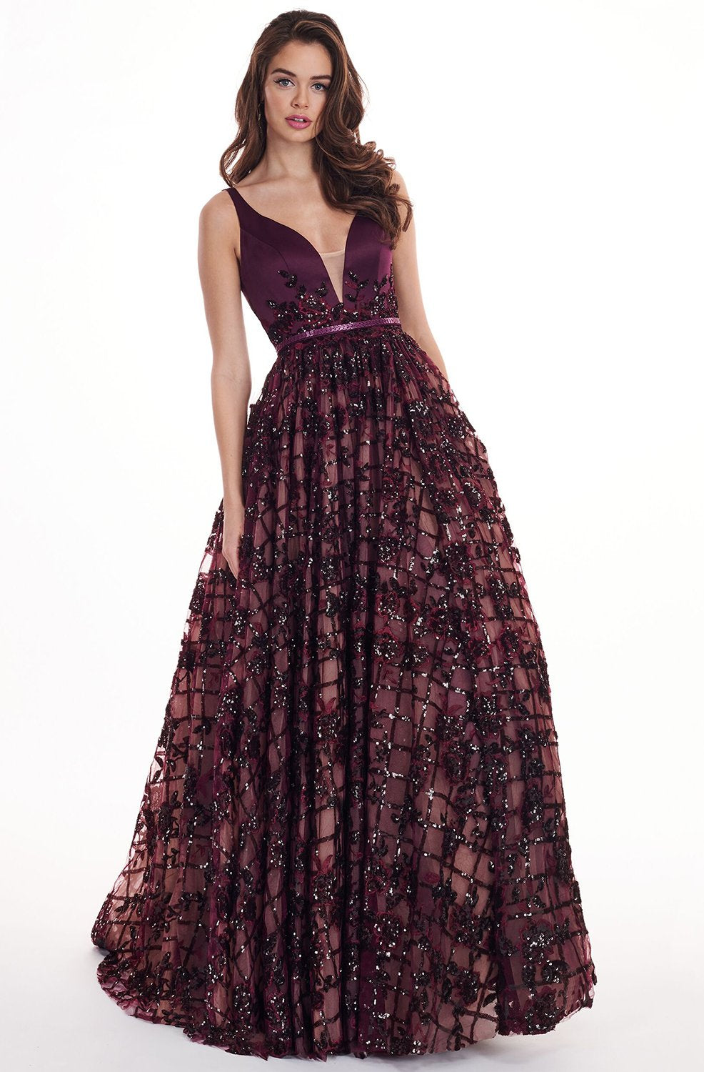 Rachel Allan - 6431 Sleeveless V Neck Floral Lace A-Line Prom Gown In Black and Purple