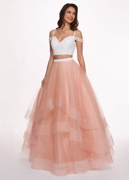 Rachel Allan - 6434 Two Piece Cold Shoulder Crop Top Tulle Prom Dress In White and Orange