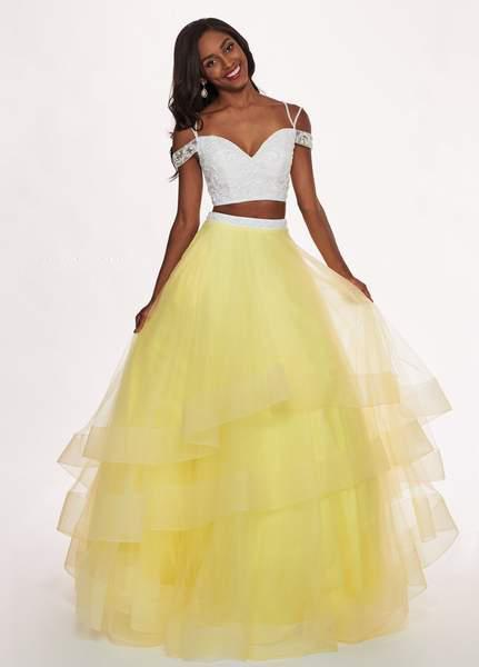 Rachel Allan - 6434 Two Piece Cold Shoulder Crop Top Tulle Prom Dress In White and Yellow