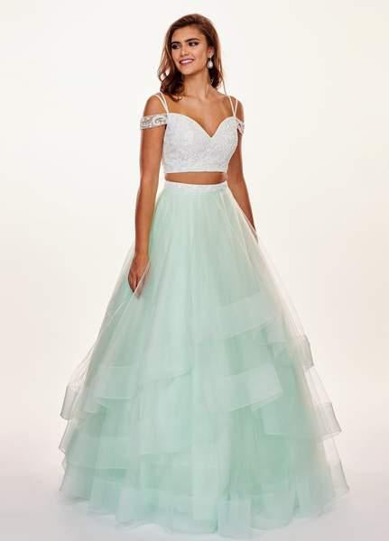 Rachel Allan - 6434 Two Piece Cold Shoulder Crop Top Tulle Prom Dress In White and Green