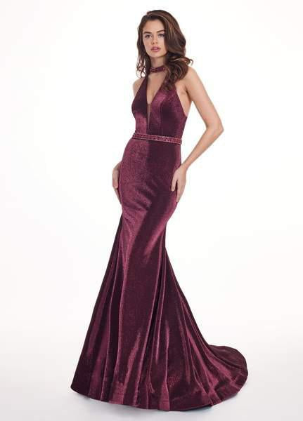 Rachel Allan - 6436 Beaded High Halter Metallic Jersey Mermaid Dress In Purple