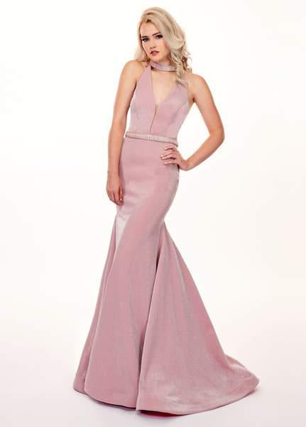 Rachel Allan - 6436 Beaded High Halter Metallic Jersey Mermaid Dress In Pink