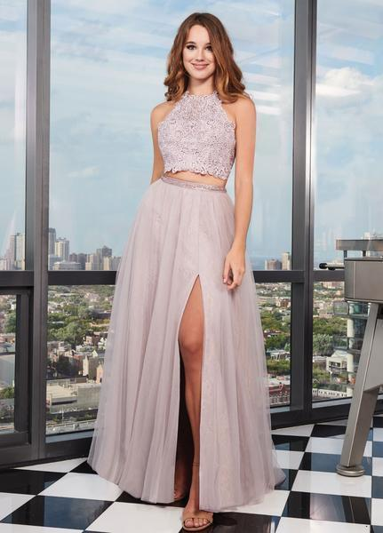 Rachel Allan - 6437 Two Piece Embroidered Lace Halter A-line Dress In Pink