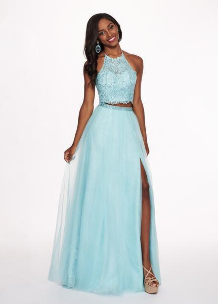 Rachel Allan - 6437 Two Piece Embroidered Lace Halter A-line Dress In Blue