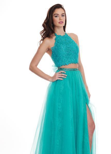 Rachel Allan - 6437 Two Piece Embroidered Lace Halter A-line Dress In Green