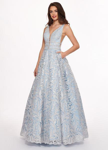 Rachel Allan - 6443 Sequined Embroidered Lace A-Line Gown In Blue
