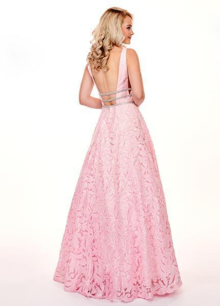 Rachel Allan - 6443 Sequined Embroidered Lace A-Line Gown In Pink