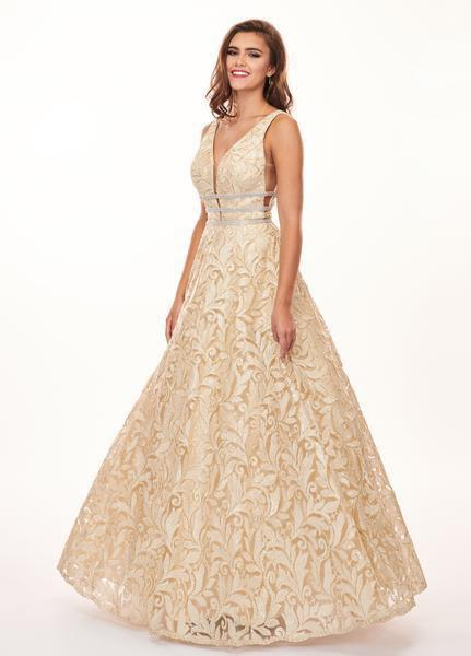 Rachel Allan - 6443 Sequined Embroidered Lace A-Line Gown In Gold