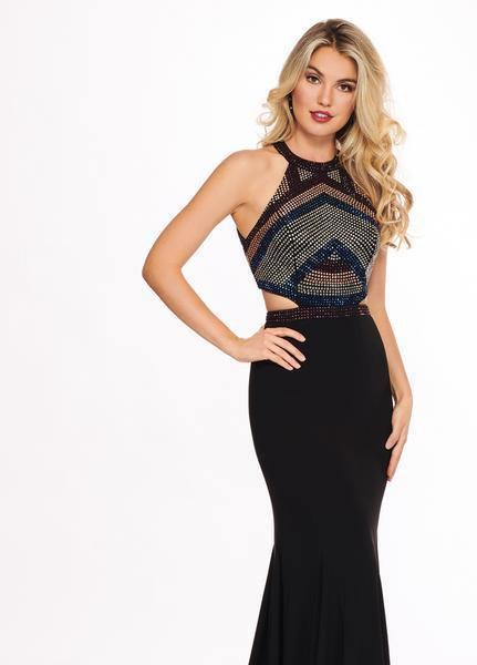 Rachel Allan - 6444 Beaded Halter Cutout Sheath Dress In Black