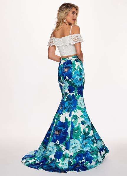 Rachel Allan - 6449 Two Piece Ruffled Off-Shoulder Floral Dress In White and Blue