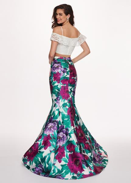 Rachel Allan - 6449 Two Piece Ruffled Off-Shoulder Floral Dress In White and Purple