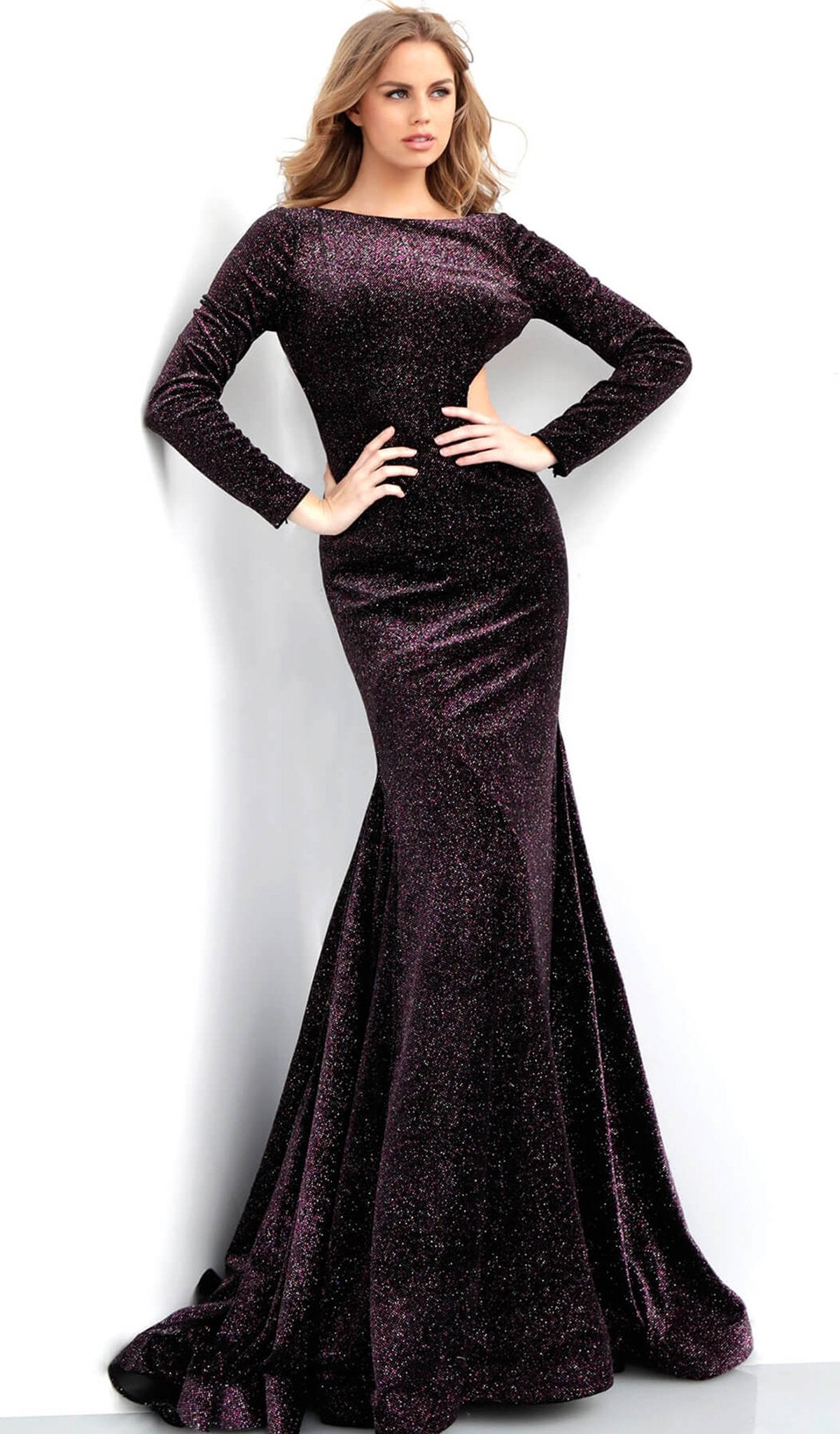 Jovani - 64562 Glittering Long Sleeve Bateau Mermaid Dress In Black and Pink