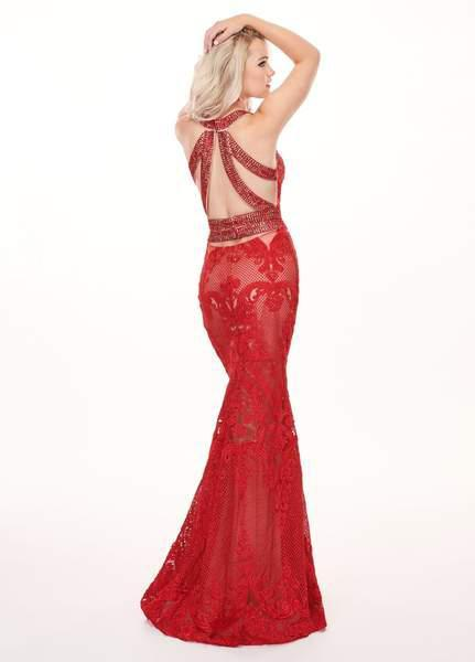 Rachel Allan - 6462 Crystal Embroidered Halter Mermaid Dress In Red