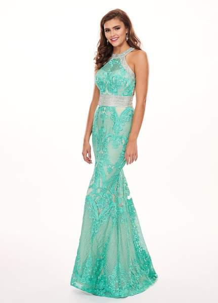 Rachel Allan - 6462 Crystal Embroidered Halter Mermaid Dress In Green