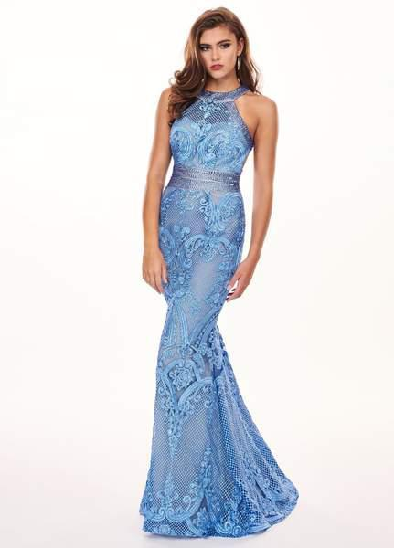 Rachel Allan - 6462 Crystal Embroidered Halter Mermaid Dress In Blue