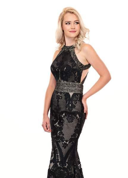 Rachel Allan - 6462 Crystal Embroidered Halter Mermaid Dress In Black