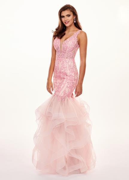 Rachel Allan - 6465 Illusion Plunging V Neck Ruffled Mermaid Gown In Pink