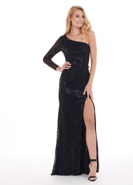 Rachel Allan - 6468 Asymmetrical Evening Gown with Slit In Black