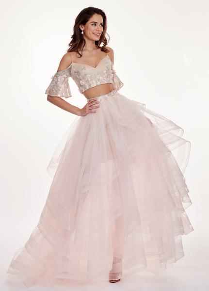 Rachel Allan - 6476 Two Piece Cold Shoulders Layered Tulle Gown In Pink