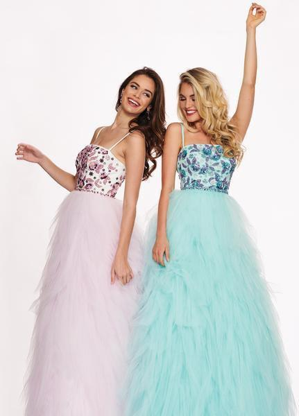 Rachel Allan - 6479 Floral Beaded Layered Tulle Ballgown In Pink and Blue