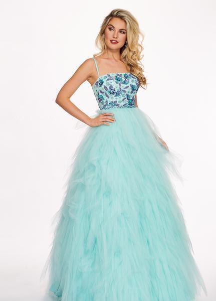 Rachel Allan - 6479 Floral Beaded Layered Tulle Ballgown In Blue