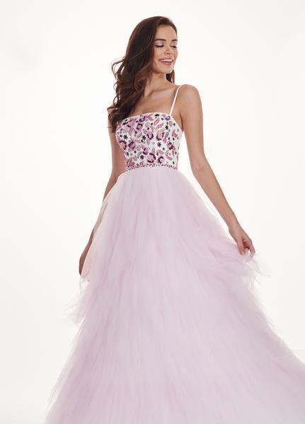 Rachel Allan - 6479 Floral Beaded Layered Tulle Ballgown In White and Pink