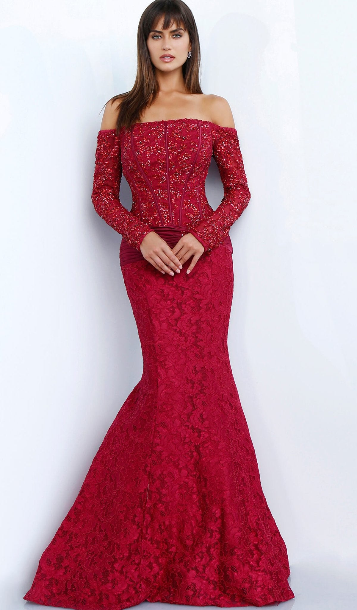 Jovani - 64822 Embellished Off-Shoulder Mermaid Dress In Red