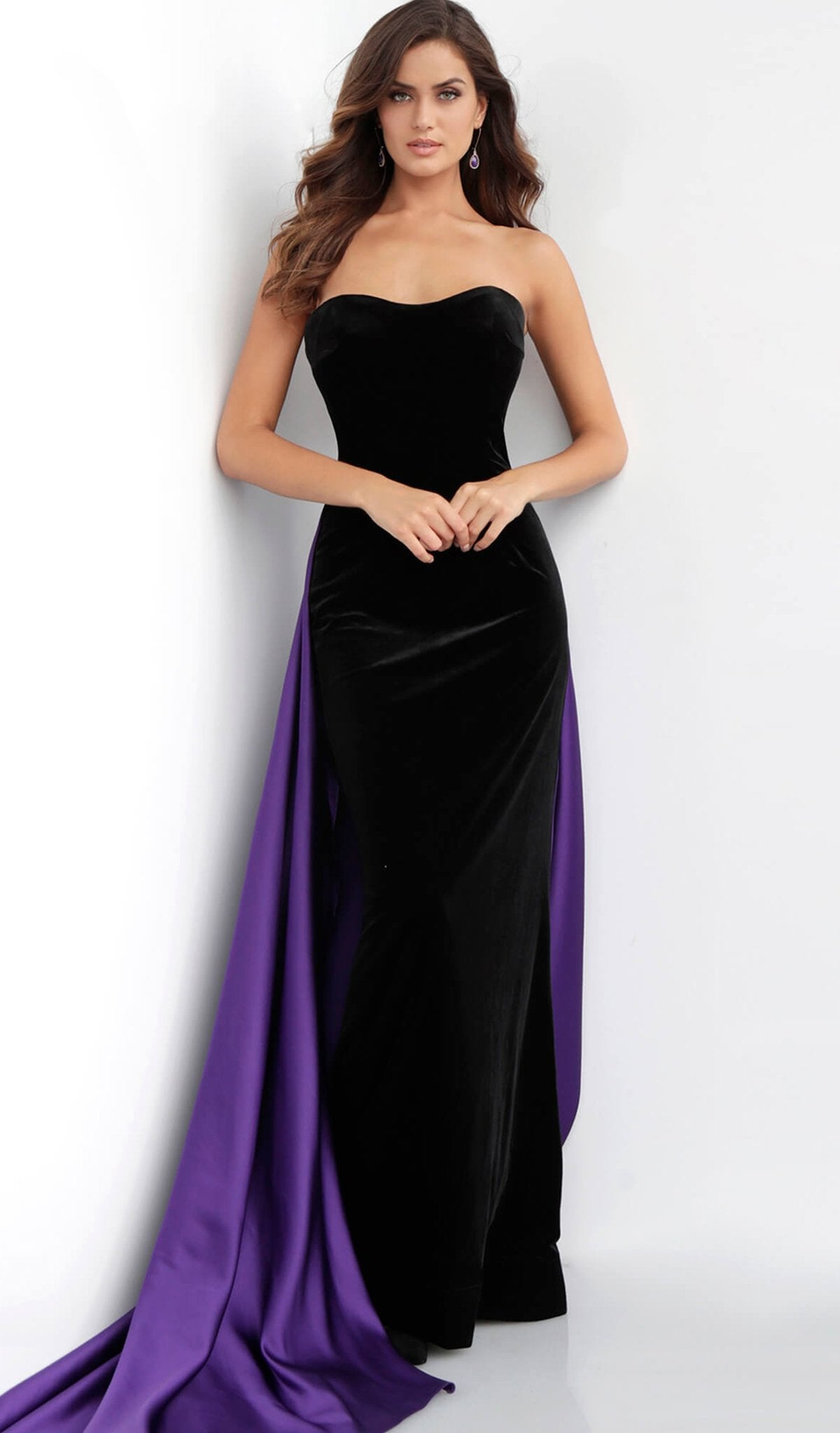 Jovani - 64830 Two Tone Strapless Velvet Dress With Satin Overskirt in Black and Purple