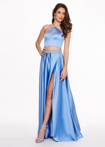Rachel Allan - 6483 Two Piece Halter A-Line Dress with Slit In Blue