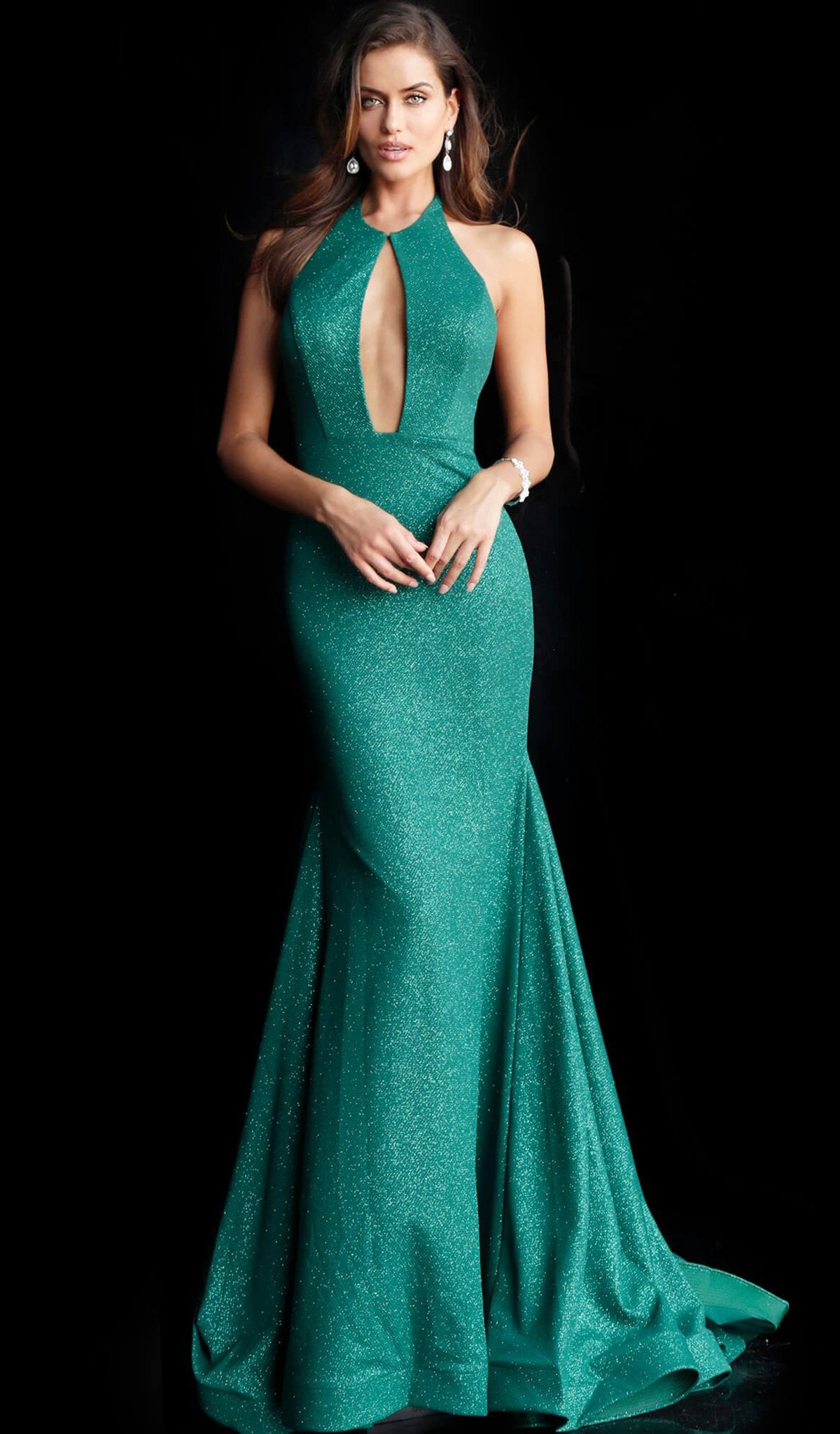 Jovani - 64851 Backless Front Keyhole Stretch Glitter Prom Gown in Green