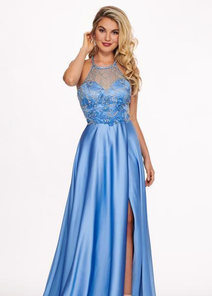 Rachel Allan - 6487 Beaded Halter Satin A-line Dress In Blue