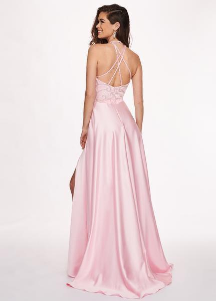 Rachel Allan - 6487 Beaded Halter Satin A-line Dress In Pink