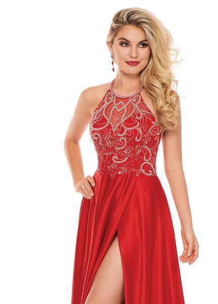 Rachel Allan - 6487 Beaded Halter Satin A-line Dress In Red