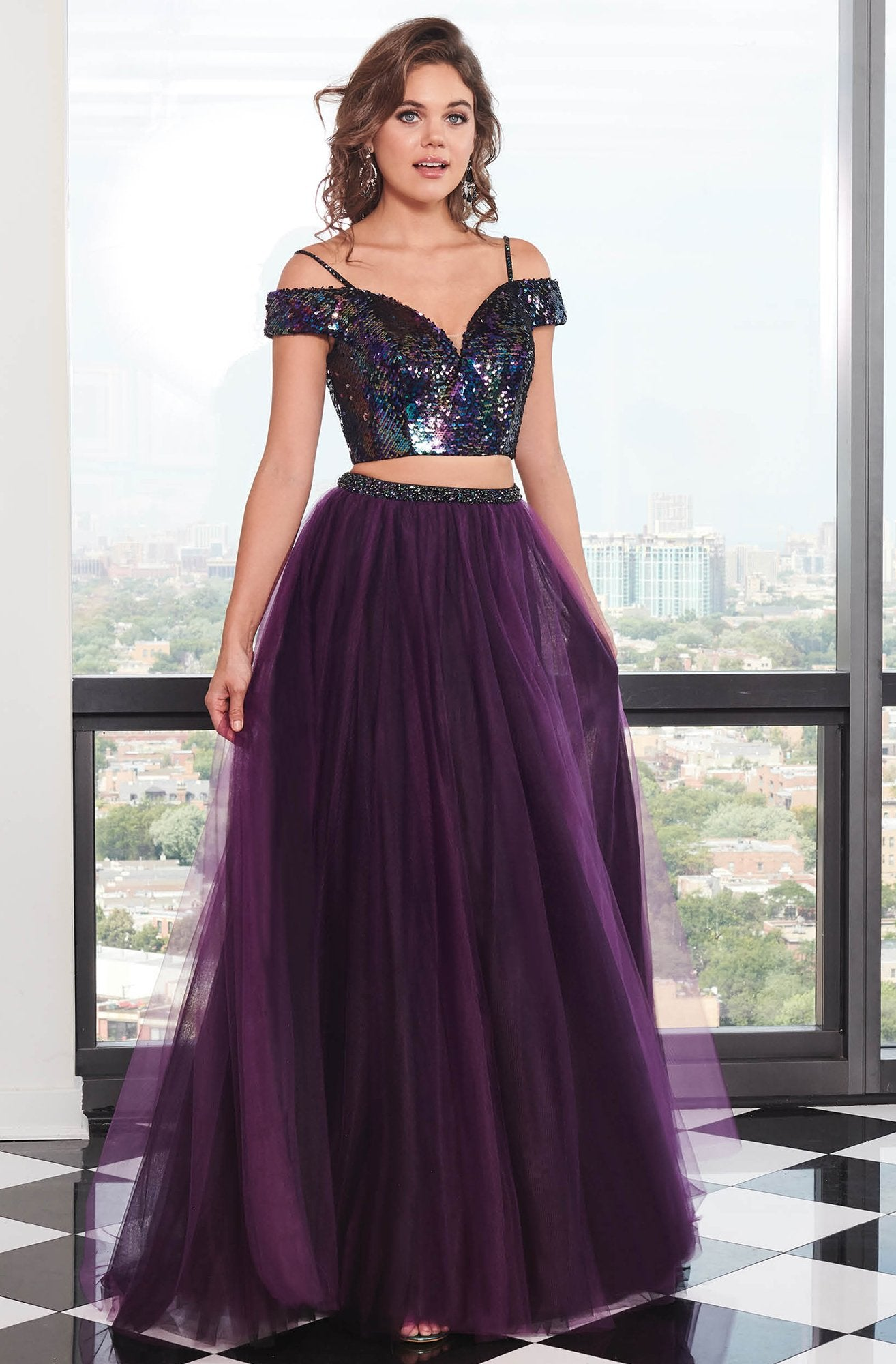 Rachel Allan - 6488 Two Piece Sequin Embellished Top Tulle Prom Gown In Purple