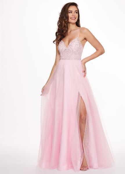 Rachel Allan - 6493 Embroidered V-neck Swiss Dot Crepe A-Line Gown in Pink