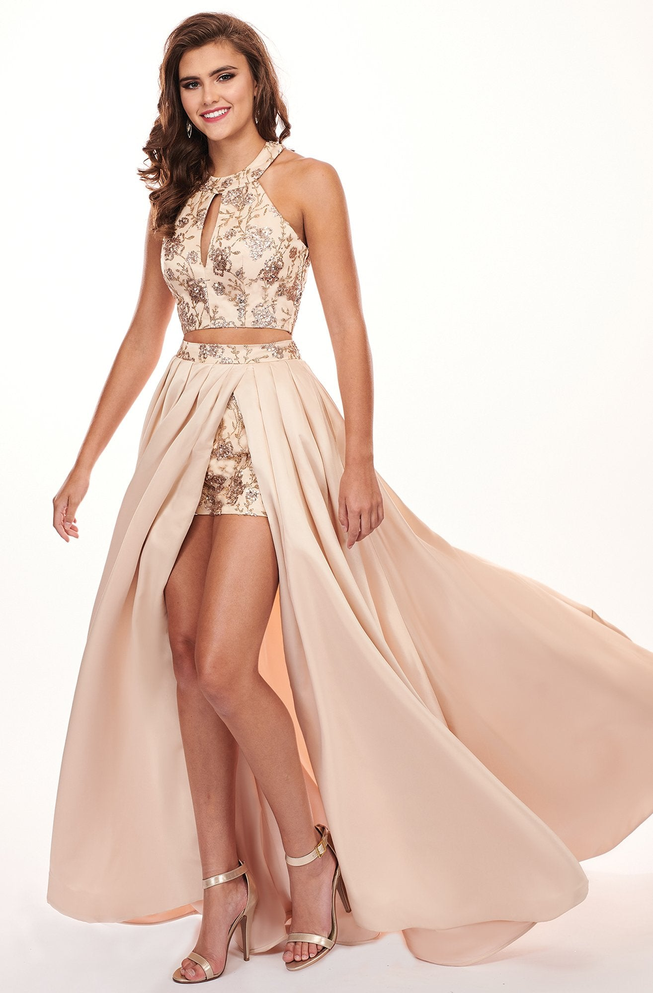 Rachel Allan - 6495 Two Piece Beaded Romper with Overlay In Nude