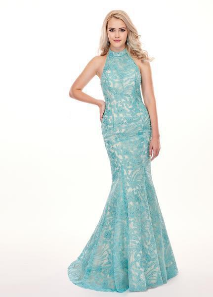 Rachel Allan - 6496 High Halter Mermaid Evening Gown In Blue