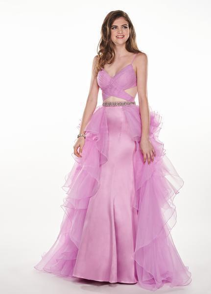 Rachel Allan - 6498 Shirred Midriff Cutout Overskirt Gown In Purple
