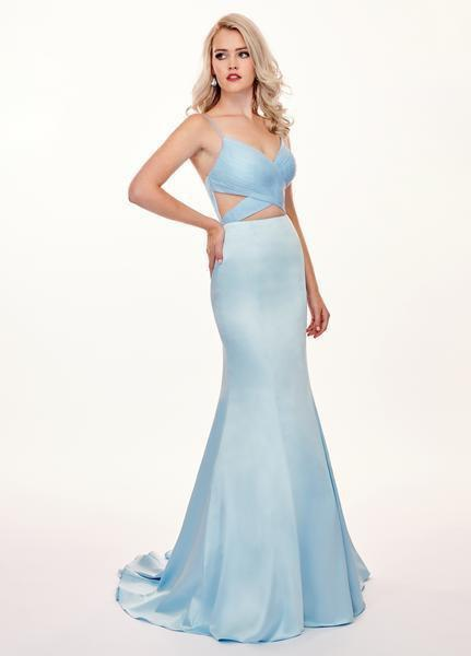 Rachel Allan - 6498 Shirred Midriff Cutout Overskirt Gown In Blue