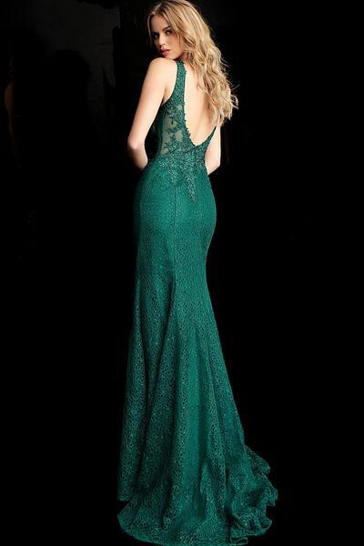 Jovani - 64995SC Lace Embroidered Sleeveless Mermaid Dress With Train