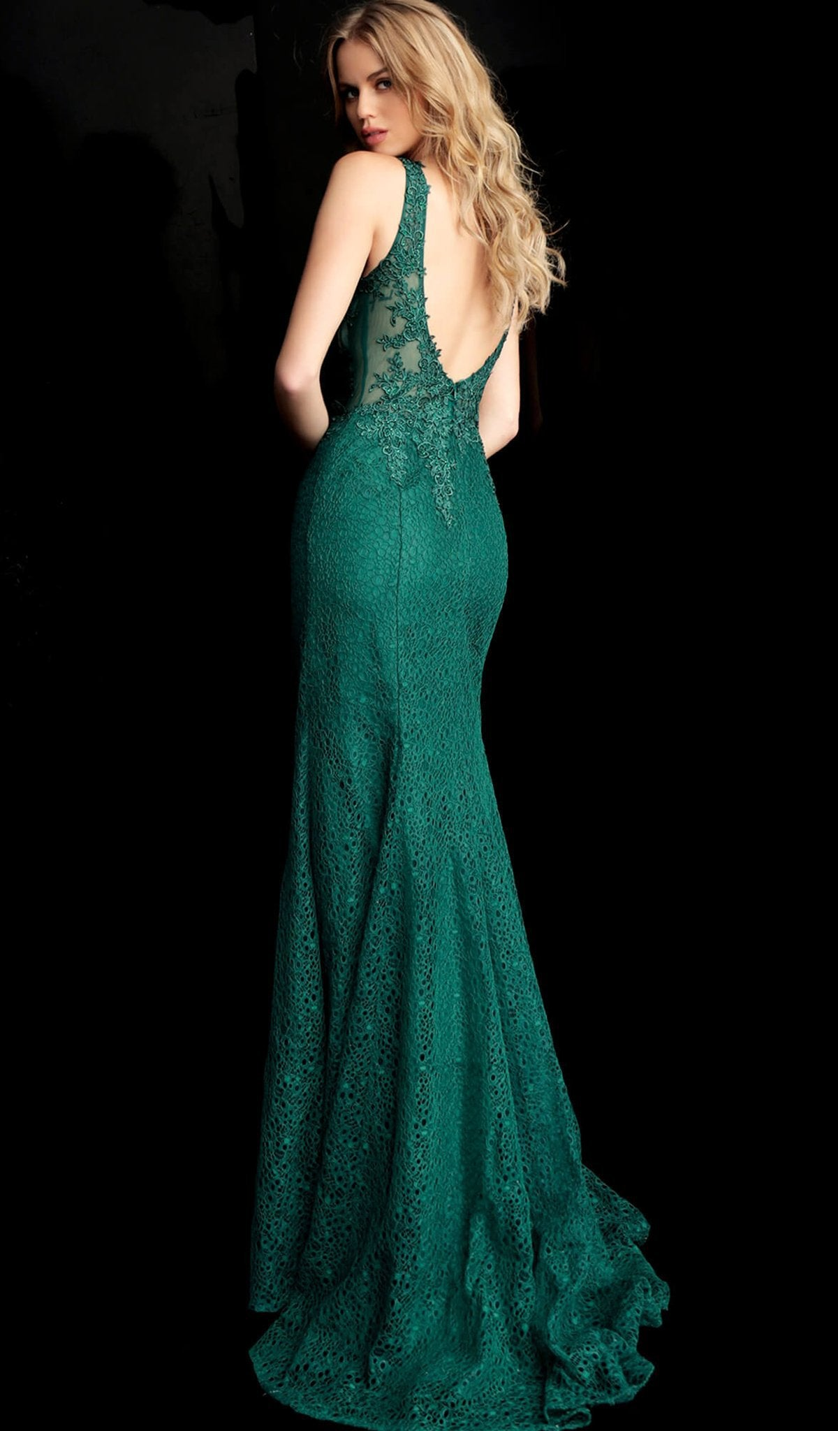 Jovani - 64995 Lace Embroidered Mermaid Dress With Train in Green