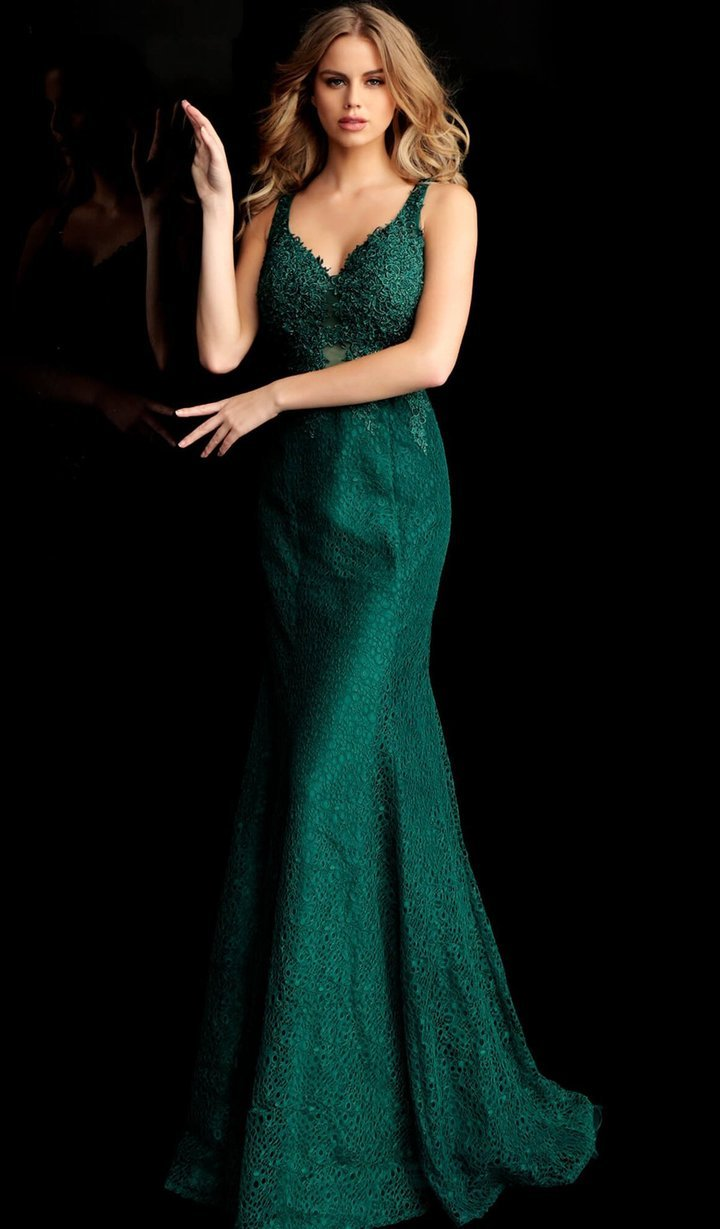 Jovani - Lace Embroidered Mermaid Dress With Train 64995 In Green