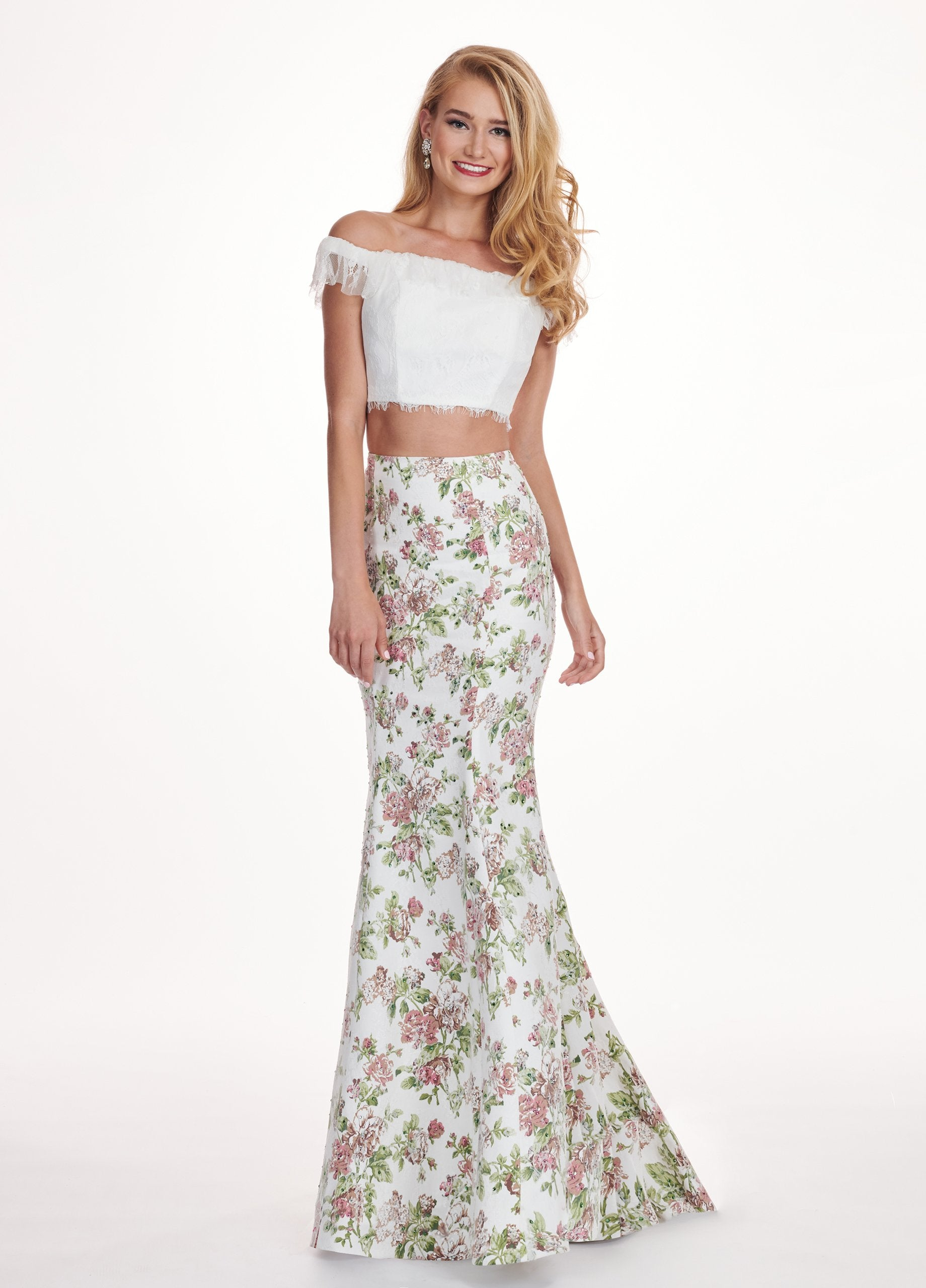 Rachel Allan - 6499 Two Piece Lace Off-Shoulder Mermaid Dress In White and Multi-Color