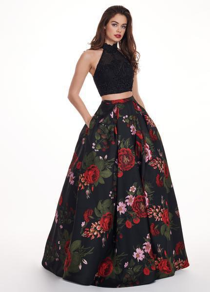 Rachel Allan - 6504 Two Piece Floral High Halter Dress In Black and Multi-Color