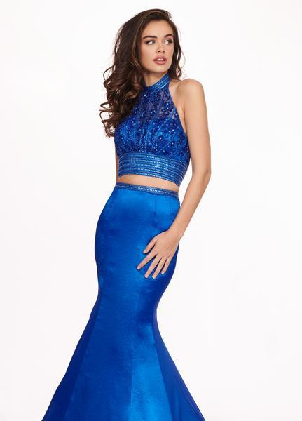 Rachel Allan - 6511 Beaded Halter Taffeta Two-Piece Mermaid Gown In Blue
