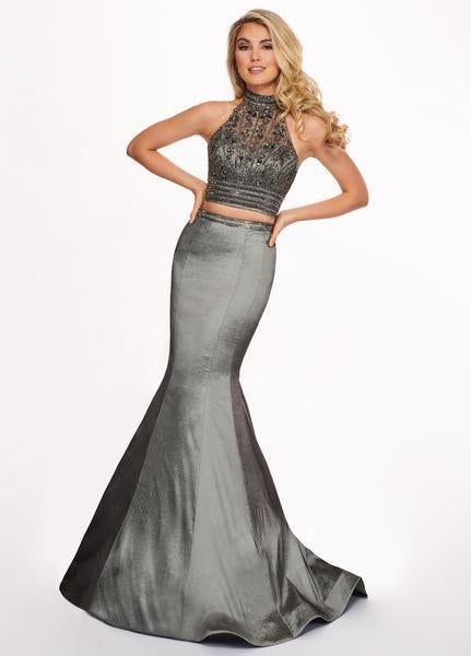 Rachel Allan - 6511 Beaded Halter Taffeta Two-Piece Mermaid Gown In Silver and Gray